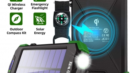 Solar Charger 10000mAh, Portable Solar Power Bank
