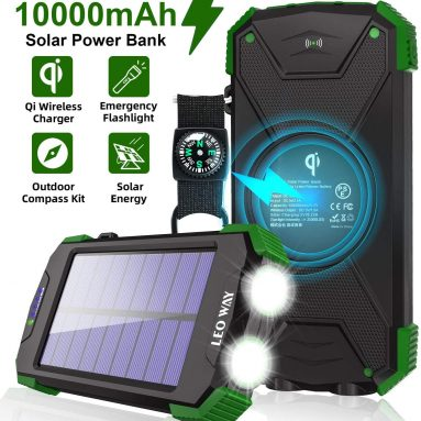 Solar Charger 10000mAh, Portable Solar Power Bank